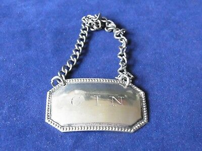 Vintage Silver Plated Bottle label GIN Silver Fixing chain - GIN Bottle label