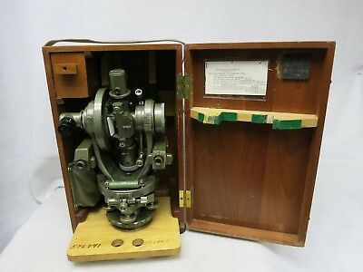 Brunson Triangulation Transit Square W/ Optical Micrometer, EyePiece,& Wood Box