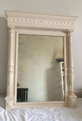 Antique French Overmantle Mirror Painted
