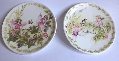 Scarce Crown Staffordshire Miniature Flower Fairy Wall Plates with Hangers