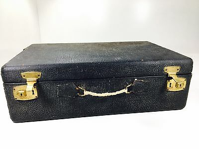 Antique Black Leather Suitcase Stage Prop Decorative Travel Case T.B. Co.