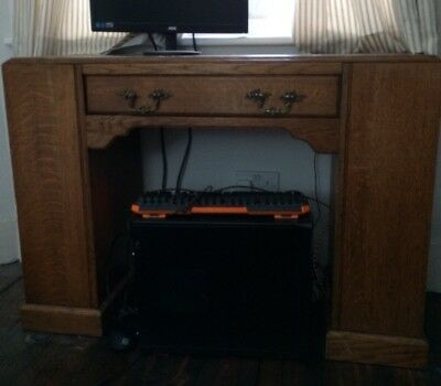 Antique Oak Art Deco Desk With Bookshelves