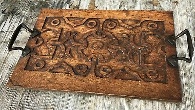 Antique Vintage Beautiful Hand Carved Wooden Tray *