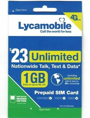 Lycamobile $23 Plan Preloaded Sim Card Free 1st Month prepaid unlimited int'talk