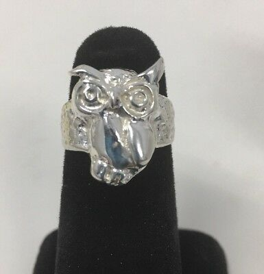 Silver Owl Ring Size 6  Animal Lover Special 925 Sterling Silver Nt Scrap