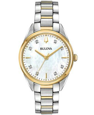 Bulova Women's Diamond Accent Two Tone Stainless Steel Bracelet Watch 98P184