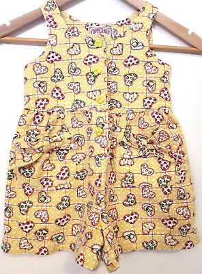 VINTAGE Copper Key One Piece Shortalls Girls Size 4 Yellow w Hearts & Vegetables