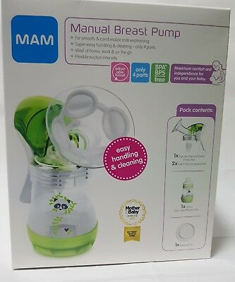 MAM Manual Breast Pump with Anti-Colic Milk Bottles & Baby Feeding Teats - Green