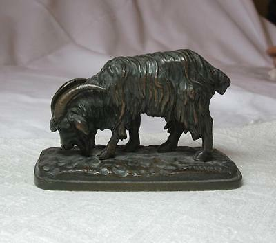 Emmanuel Fremiet Antique French Bronze Goat Ram Sheep Sculpture Rare Museum