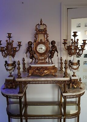 Imperial Brevettato Brass and Marble Franz Hermle Mantle Clock /Candelabra Set