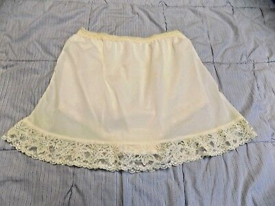Vintage Rare Off White Nylon and lace Short Half slip With Panty Bloomers  M