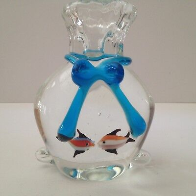 Blown Art Glass Kissing Fish Sack with Blue Bow Paperweight; New Condition