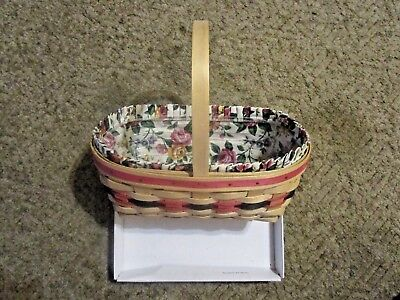 Longaberger 1994 Large Market Basket With Protector  And Fabric  Liner  NICE !!!