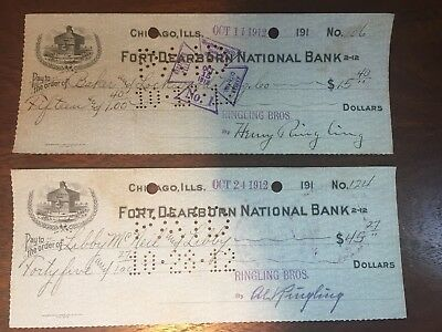 Al Ringling, Henry Ringling Brothers Circus, Signed Checks