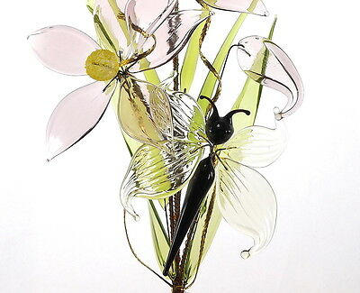 Lovely Crystal Glass Flowers With Butterfly Amazing Birthday Gift Present Idea