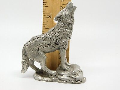 1975 Pewter Figurine Sculpture by Greg Neeley HOWLING WOLF VGUC