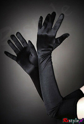 Restyle Luxury Gothic Long Evening Opera Black Satin and Lycra Gloves for Women