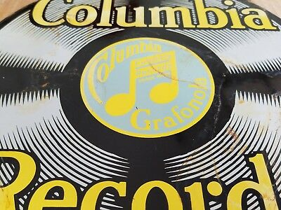 Old Columbia Records Porcelain Sign America Vintage Music Jazz Rock Pop Tunes