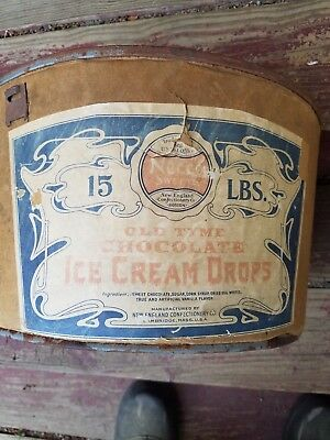 Antique Necco Sweets Ice Cream Drops Bucket with Wooden Handle