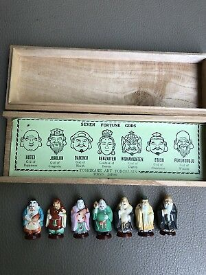 Toshikane Seven Fortune Gods Immortals Japan Porcelain Miniature In box