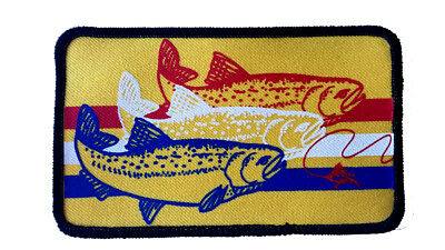 Trout Striped Embroidered Patch 3x5 Fly Fishing Iron On Fisherman YB