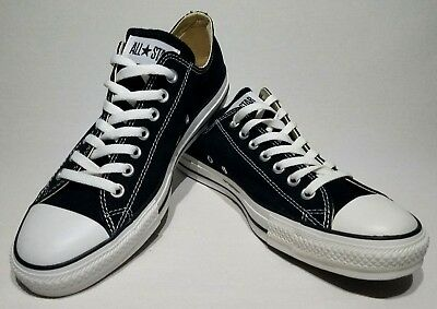 NEW Converse ALL STAR OX BLACK Chuck Taylors UNISEX MENS 9 WOMENS 11 LOW  TOPS a2aa79148