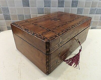 Victorian Tunbridge Style Walnut Veneered Box- Refurbished Interior - Lock & Key
