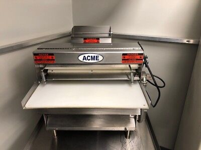 ACME DOUGH ROLLER SHEETER MRS-20 STAINLESS STEEL DOUBLE PASS THRU PIZZA W/ Table