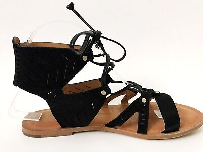 83a2bfb4a75 Dolce Vita JUNO Black Nubuck Leather Flat Strappy Gladiator Sandal Womens  6.5