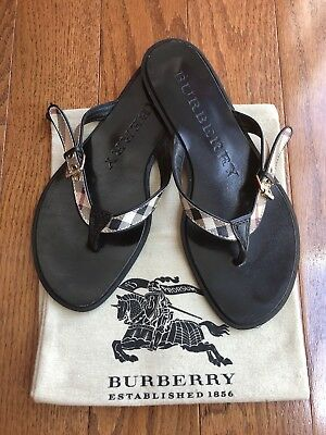 51f9361875200c NEW BURBERRY MASIE Flip Flop Black Icon Housecheck Thong US 6 Shoe ...
