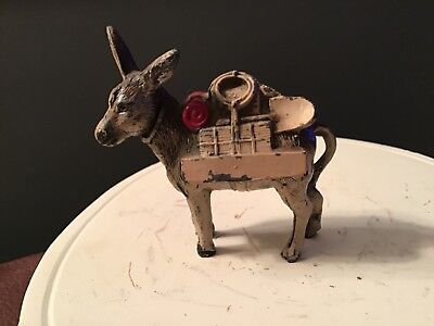 Vintage metal pack mule made in Japan,lead,painted,collectible,donkey,miniature