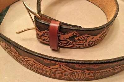 """Leather Belt Embossed with Train & Horses   Size Approx 36"""""""