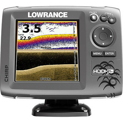 LOWRANCE Hook-5x Sonar Chirp DownScan Sounder Fishfinder, Xdcr 000-12653-001 NEW
