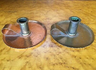 pair of hand hammered copper candlestick holders Arts & Crafts movement