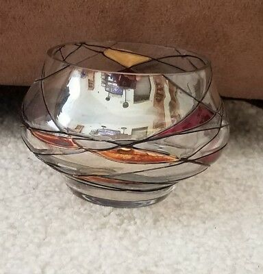 PartyLite Calypso Mosaic Red Gold Stained Glass Tealight Votive Candle Holder- B