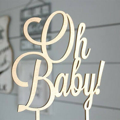 Wooden Oh Baby Cake Toppers Baby Shower Bitrhday Party Decor Hard Cardboard DIY