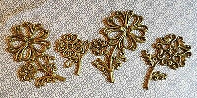 Set of 4 VTG HOMCO Syroco Gold Wicker Look Flowers Wall Art Decor
