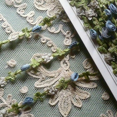 Antique French Blue Ombre Ribbon Rosette Trim 18 Inch Length