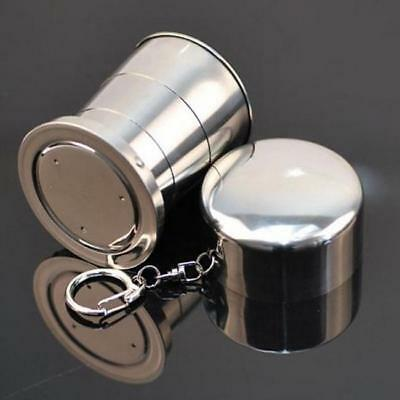 Mini Silver Foldable Cup Collapsible Drink Mug Camping Water Cup with Keychain G