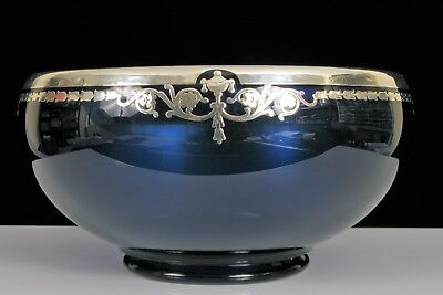 """Antique Rockwell Cobalt Blue Bowl With Ornate Sterling Silver Overlay 7.5"""" Diam"""