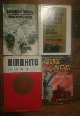 lot of 4 vtg books ww2 lonely vigil hirohito george patton ex-lib thousand-mile
