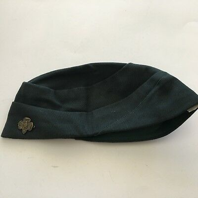 Vintage Official Girl Scout Cap Hat with Pin Dark Green Size 22