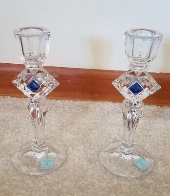 HTF Partylite Blue Jeweled Quad Prism Taper Candlestick Pair Candle Holder P7543