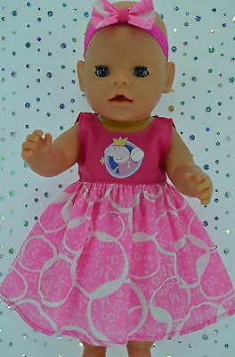 """Play n Wear Doll Clothes To Fit 17"""" Baby Born HOT PINK/PATTERN DRESS~HEADBAND"""