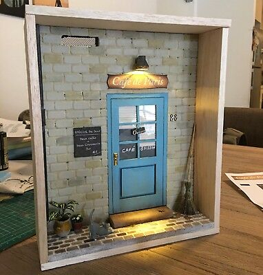 1:12 Scale Handmade French Store Front Diorama Miniature inc. accessories