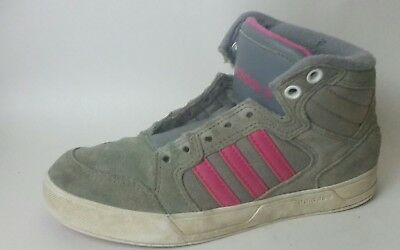 ADIDAS NEO LABEL Girls size 1 Youth Gray Pink Hi Top Sneaker Shoes Suede Leather