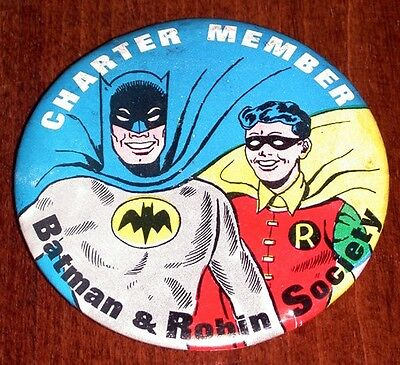 Vintage 1966 BATMAN ROBIN CHARTER MEMBER Pinback Button Old Store Stock mint 60s