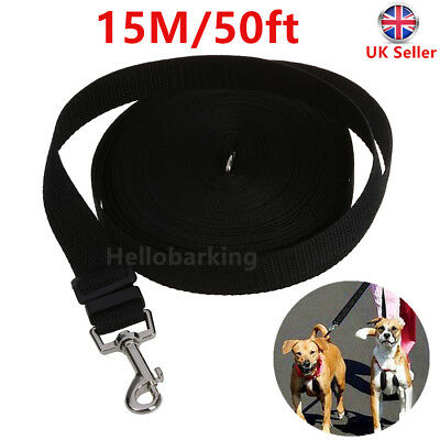 Dog Puppy Pet Training Lead 50ft Long Line Black Collar Harness Extending Leash