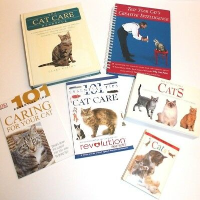 Lot of 6 Cat Books 101 Care Breeds, Test Your Cat's Creative Intelligence Caring