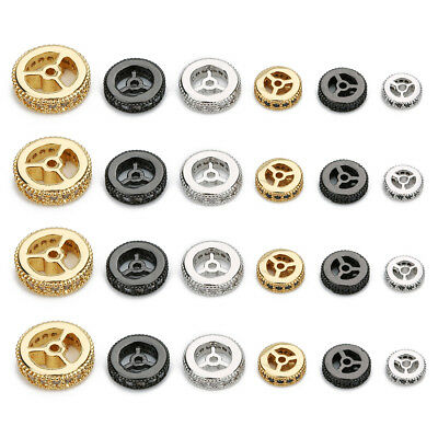 5pcs/lot 6/8/10/12mm Round Wheels Shape Gold Plated Copper Cz Paved Spacer Beads